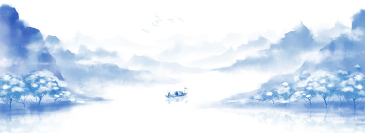ink chinese style retro landscape painting, Blue, Freehand, Happy Background image