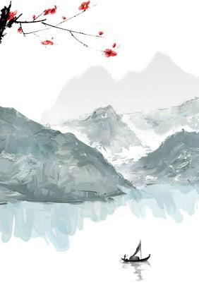ink landscape painting chinese style mountain peak , Mountain Range, Ink, Retro Background image