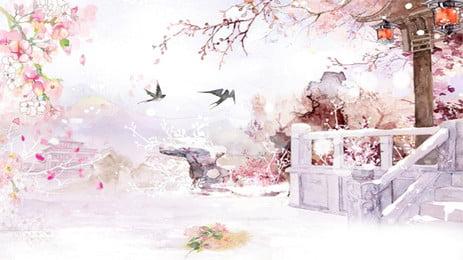 Mực cổ hoa vẽ tay Mực Màu hồng Vẽ tay Phong Hồng Vẽ Cách Hình Nền