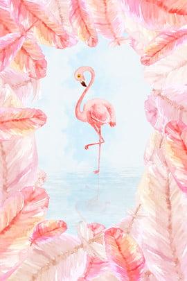ins ветер перо границы фламинго иллюстрации плакат фон ins Фламинго розовый перо рамка иллюстрация В воде облако туман плакат фон , воде, облако, туман Фоновый рисунок