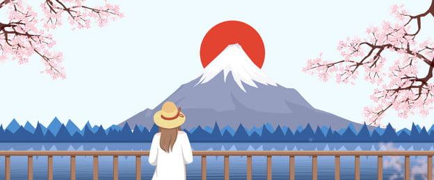 जापानी जापानी शैली फुजियामा चेरी ब्लॉसम पोस्टर जापान जापानी शैली माउंट फ़ूजी चेरी, का, फूल, ब्रीज पृष्ठभूमि छवि
