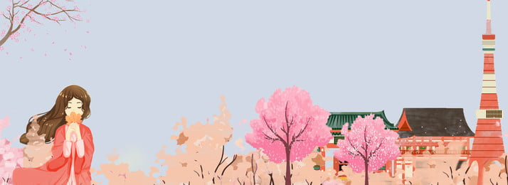 Japan Tourism Cherry Blossoms Building, Girl, Travel, Clothing, Background image