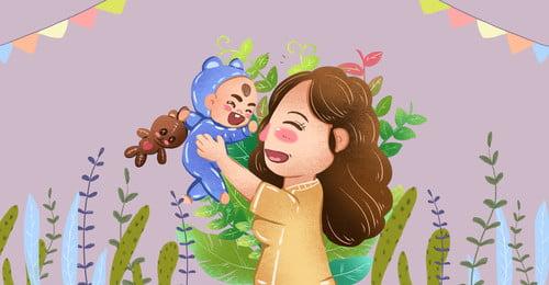 手抱嬰兒漫畫親吻主題 親吻 手抱嬰兒 親子 親情 呵護 媽媽 嬰兒 母親 嬰兒插畫, 親吻, 手抱嬰兒, 親子 背景圖片