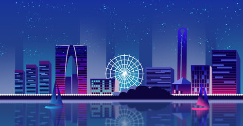 Landmark City Night View Hangzhou Building, City, High-rise Building, Landmark City, Background image