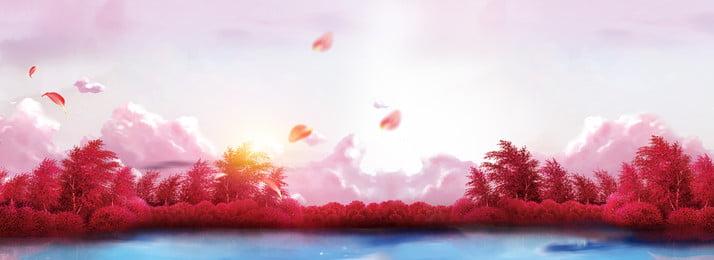 गुलाबी सपने वाली जंगल की बैनर पृष्ठभूमि समुद्र पेड़ की पत्ती लकड़ी गुलाबी झील, सतह, दूर, रचनात्मकता पृष्ठभूमि छवि