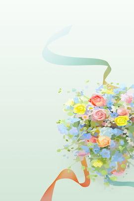 밝은 녹색 꽃 낭만적 인 신선한 리본 배경 밝은 녹색 꽃 낭만주의 신선한 리본 달콤한 손으로 그린 , 밝은 녹색 꽃 낭만적 인 신선한 리본 배경, 밝은, 녹색 배경 이미지