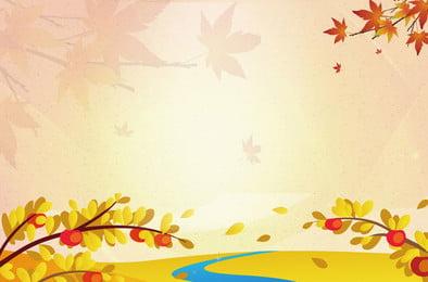 文藝黃色秋季海報 文藝 秋季 楓葉 花 秋天, 文藝, 秋季, 楓葉 背景圖片