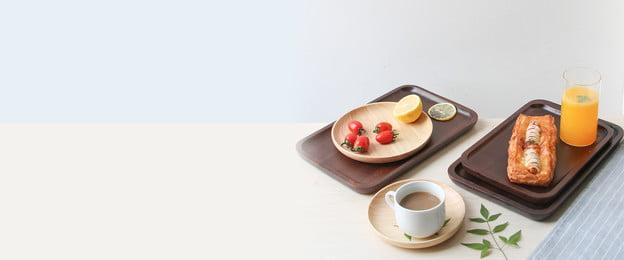 清新咖啡背景 文藝 文藝 簡約 咖啡 咖啡豆 牛角麵包 下午茶 早餐 海報banner, 文藝, 簡約, 咖啡 背景圖片