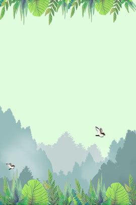 little bird forest simple fresh , Literary, Cartoon, Hand Painted Background image