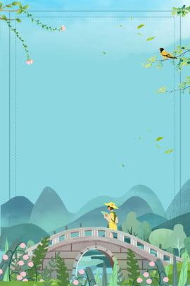 little girl stone bridge little bird forest , Cartoon, Hand Painted, Simple Background image