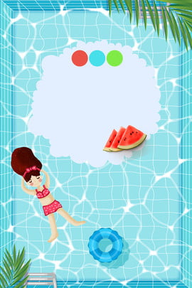 little girl swim summer poster swimming pool , Water, Cool, Summer Background image