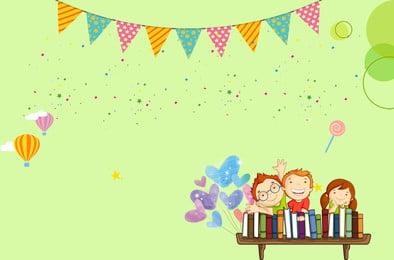 Áp phích trường mẫu giáo xanh Dễ thương Trẻ em Sách Bong Xanh Áp Áp Hình Nền