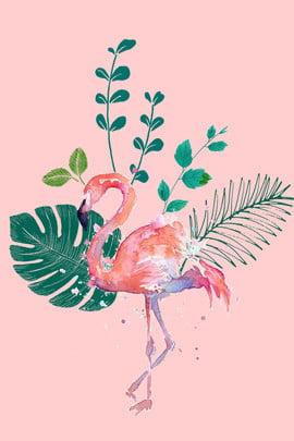 Милый фламинго прекрасный розовый Фламинго Дерево лист Охрана окружающей , лист, Охрана, Милый фламинго Фоновый рисунок