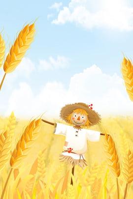 Mango Golden Scarecrow Minh họa Poster gió Mang nền Cánh đồng đồng Nền Cánh Hình Nền