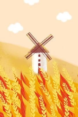 Áp phích cánh đồng lúa mì Golden Orange Mang Mang nền Cánh đồng Mang Quảng Gió Hình Nền