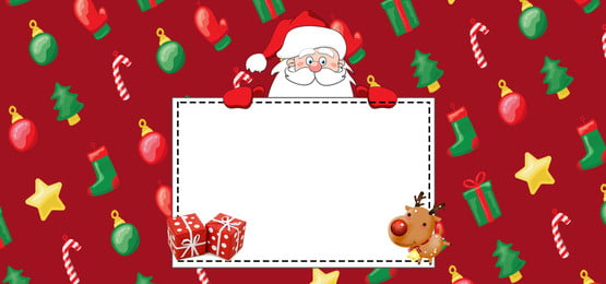 Giáng sinh vui vẻ dễ thương phim hoạt hình Santa Banner Giáng sinh vui Sừng Già Tấm Hình Nền