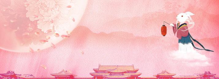 創意合成中秋節背景 中秋 月圓 花瓣 玉兔 燈籠 創意 合成 商業 卡通, 創意合成中秋節背景, 中秋, 月圓 背景圖片