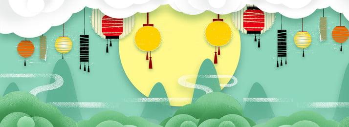 간단한 종이 컷 바람 mid autumn 배너 배경 중순 가을 포스터 중국, 축제, 중추절, 중추절 배경 이미지