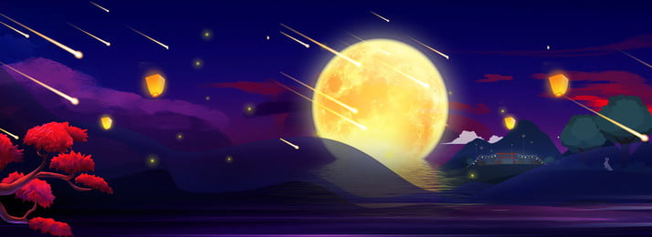 Винтажный китайский стиль Mid Autumn Moon Тайна ночь творческий фон Середина осени Ретро китайский Винтажный китайский стиль Фоновое изображение