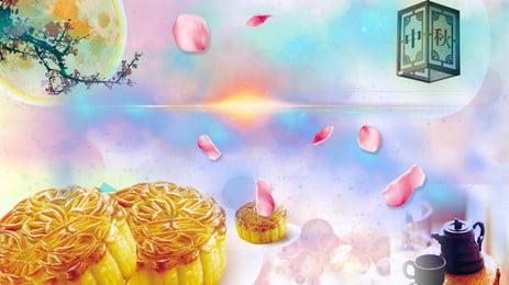 중순 가을 달 케이크 배경 포스터 문 케이크 음식 음식 포스터 배경 광고 중추절 축제, 중순 가을 달 케이크 배경 포스터, 문, 케이크 배경 이미지