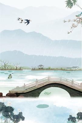 莫蘭迪中國風清新海報 莫蘭迪 高級灰 簡約 中國風 清新 橋 燕子 山水 , 莫蘭迪, 高級灰, 簡約 背景圖片