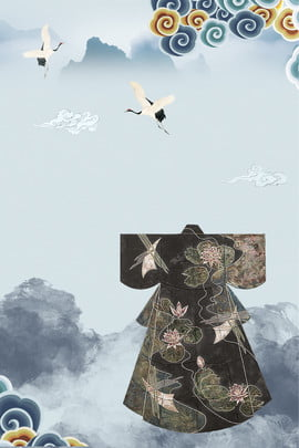 莫蘭迪漢服祥雲海報 莫蘭迪 簡約 中國風 大氣 祥雲 漢服 水墨 白鶴 , 莫蘭迪, 簡約, 中國風 背景圖片