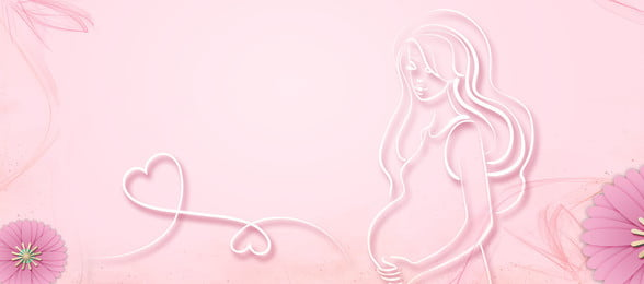 mother and baby pregnant woman pink banner, Mother And Baby, Pregnant Woman, Pink Background image