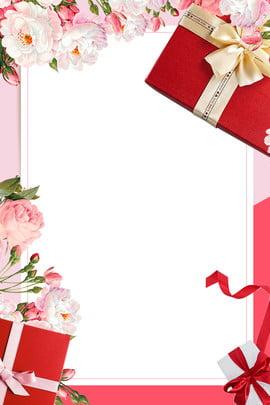어머니의 날 패션 핑크 분위기 , 포스터, 리본, 선물 상자 배경 이미지