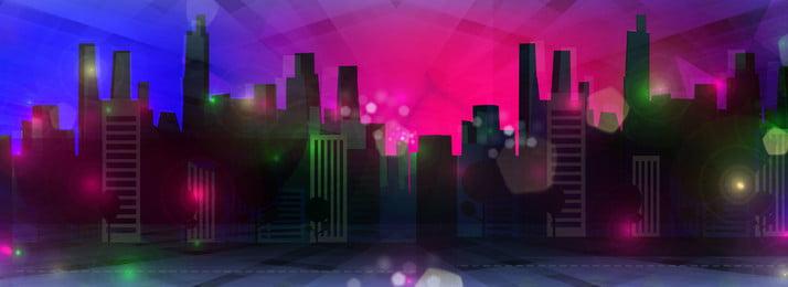 Blauer pinkfarbener Neon Steigungsstadt Nachthintergrund Neon Blauer Fuchsia Farbverlauf Stadt Nachtaufnahme Hintergrund Textur Raum Technologischer Sinn Licht Neon Blauer Sinn Hintergrundbild