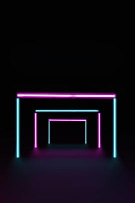Glowing dòng hình học ba chiều neon mát mẻ nền poster Neon Ba chiều Đường chiếu Cách Khí Glowing Hình Nền