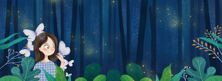 Night Blue Trees Plant, Girl, Butterfly, Animal, Background image