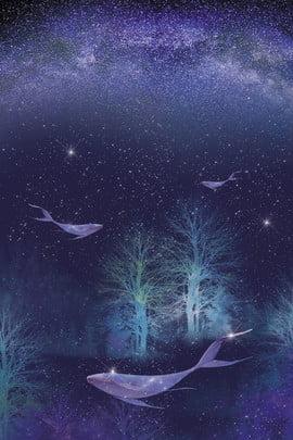 아름 다운 고래 부동 별이 빛나는 하늘 그림 별이 빛나는 하늘의 , 배경, 배경, 일본의 배경 이미지