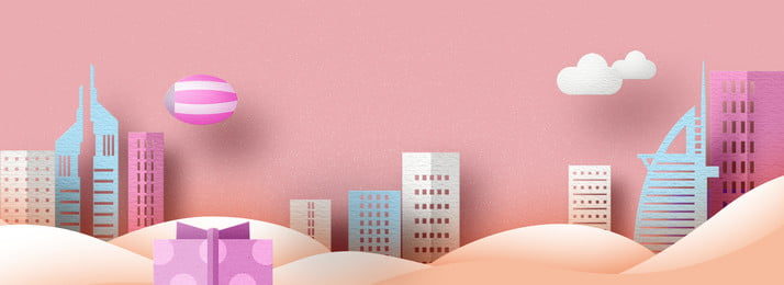 pink city ​​building national day property, Gift, National Day, Paper-cut Wind Background image