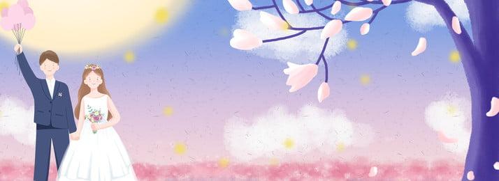 Fundo de casamento romântico com casal sob cerejeira Pink Sonho Linda Romântico Amor Casamento Par Flor de cerejeira Banner Fundo De Casamento Imagem Do Plano De Fundo