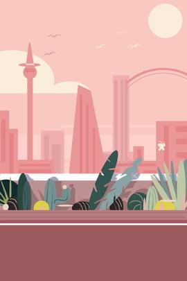 pink sunset city green lane , Corridor, Cartoon, Minimalistic Background Background image