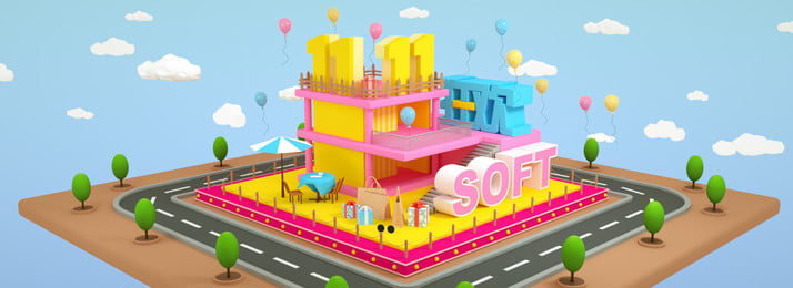 Poster Banner C4d 3d Scene Carnival, Soft, Blue, Yellow, Background image