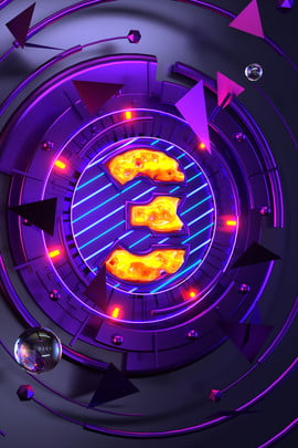 purple cool digital c4d , Countdown, 3, Atmosphere Background image