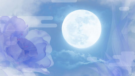 purple green beautiful full moon, Mid-autumn Festival, Simple, Poster Background image