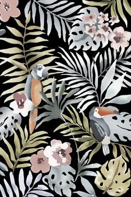 rainforest green leaf little bird printing , Home, Carpet, Rural Background image