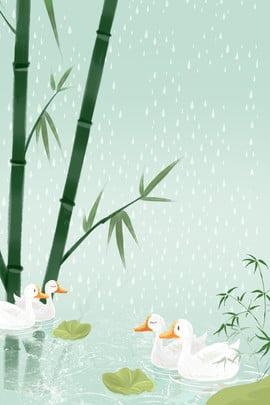 春のアヒル水泳雨水祭りの背景 雨 雨滴 春 梅雨 伝統的なソーラー用語 24ソーラーターム 春 オープンスプリング 雨 あひる 竹 アヒルの演奏 アヒルの水泳 , 雨, 雨滴, 春 背景画像