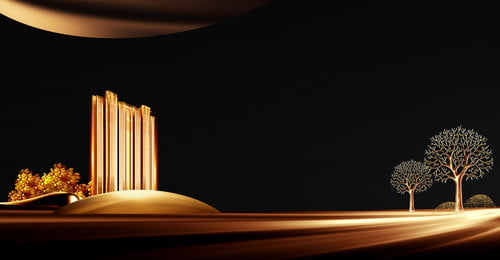 रियल एस्टेट पृष्ठभूमि उच्च वृद्धि काले सोने के पेड़ पोस्टर अचल संपत्ति संपत्ति की, इमारत, पेड़, सुनहरी पृष्ठभूमि छवि