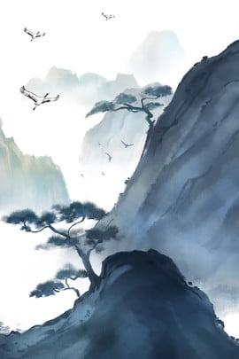 中国古代の風景と背景素材 赤鶴 インク インクの風景 松の木 レトロ 中華風 古代のスタイル 風景 単純な 山頂 , 中国古代の風景と背景素材, 赤鶴, インク 背景画像