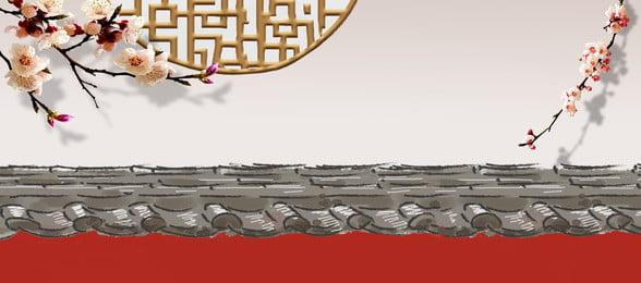 Red Wall Plum Китайский Классический Эстетический Баннер Фон Красная стена Цветение сливы Китайский стена Цветение Красная Фоновое изображение