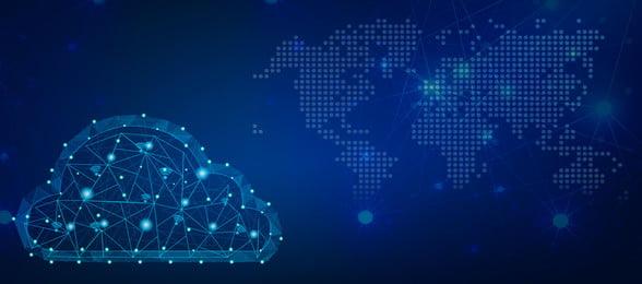 biểu ngữ nền công nghệ chain dot cloud blue chuỗi khu vực ma, Nghệ, Biểu, Trận Ảnh nền