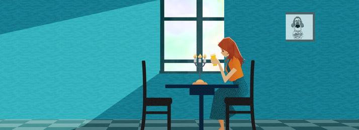 숙녀 음식 배경을 기다리는 조용한 식당 식당 블루 소녀 음식 음식 창 식탁 배너, 식당, 블루, 소녀 배경 이미지