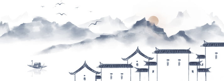 retro، صيني، لقب، السحب، الجبال، أيضا، الأنهار، أسرة، الخلفية ريترو النمط الصيني منظر حبر يوم, برية, سحاب, قارب صور الخلفية