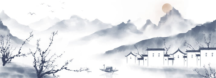 retro chinese style ink wind landscape painting, Far Mountain, Red Day, Building Background image
