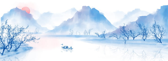 retro chinese style ink wind landscape painting, Dead Tree, Fishing Boat, Hazy Background image