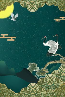 रचनात्मक संश्लेषण चीनी शैली की पृष्ठभूमि रेट्रो हरे रंग की , पृष्ठभूमि, क्रेन, बादल पृष्ठभूमि छवि