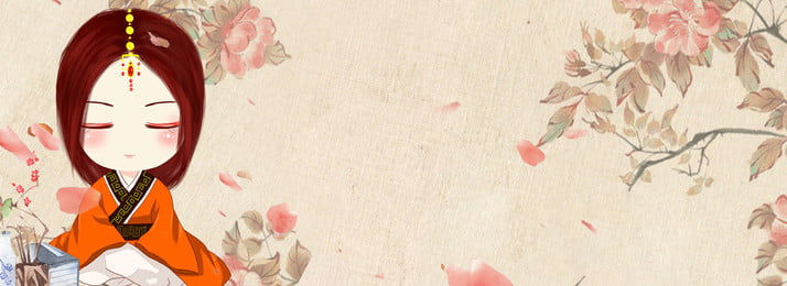 Retro Hand Painted Costume Girl Floral Background, Flower, Petal, Antiquity, Background image